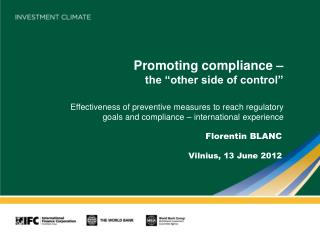"""Promoting compliance –  the """"other side of control"""""""