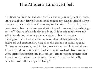 The Modern Emotivist Self
