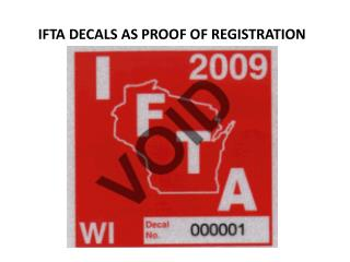 IFTA DECALS AS PROOF OF REGISTRATION