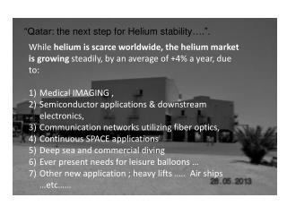 """""""Qatar: the next step for Helium stability….""""."""