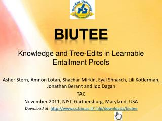 Knowledge and Tree-Edits in Learnable Entailment  Proofs