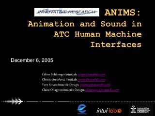 CARE-INO ANIMS: Animation and Sound in ATC Human Machine Interfaces