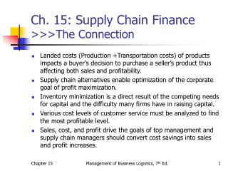 Ch. 15: Supply Chain Finance  >>>The Connection