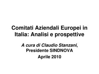 Comitati Aziendali Europei in Italia: Analisi e prospettive