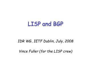 LISP and BGP