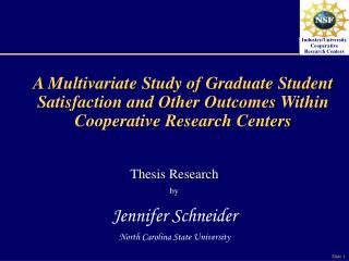 A Multivariate Study of Graduate Student Satisfaction and Other Outcomes Within Cooperative Research Centers