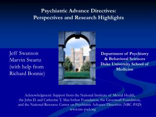Psychiatric Advance Directives:   Perspectives and Research Highlights