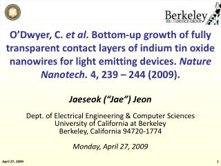"Jaeseok (""Jae"") Jeon Dept. of Electrical Engineering & Computer Sciences University of California at Berkeley Berkeley,"