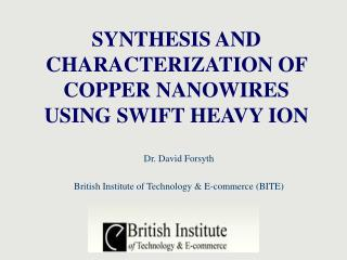 SYNTHESIS AND CHARACTERIZATION OF COPPER NANOWIRES USING SWIFT HEAVY ION