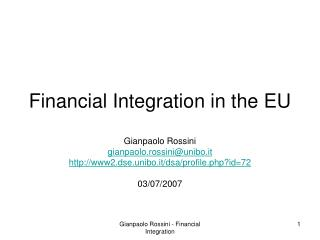 Financial Integration in the EU