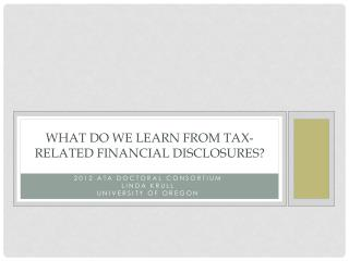 What do We Learn from Tax-Related Financial Disclosures?