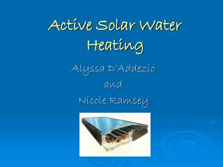Active Solar Water Heating