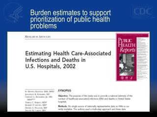 Burden estimates to support prioritization of public health problems
