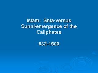 Islam:  Shia-versus Sunni