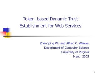 Token–based Dynamic Trust Establishment for Web Services