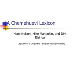 A Chemehuevi Lexicon