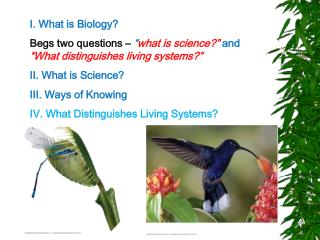 I. What is Biology? Begs two questions �  � what is science?�  and  �What distinguishes living systems?� II. What is Sc