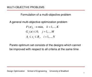 Formulation of a multi-objective problem