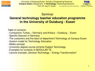 Seminar General technology teacher education programme in the University of Duisburg - Essen