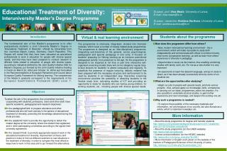 Educational Treatment of Diversity :  Interuniversity Master's Degree Programme