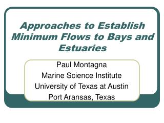 Approaches to Establish Minimum Flows to Bays and Estuaries
