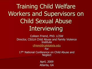 Training Child Welfare Workers and Supervisors on Child Sexual Abuse Interviewing