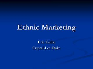 Ethnic Marketing