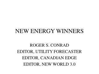 NEW ENERGY WINNERS