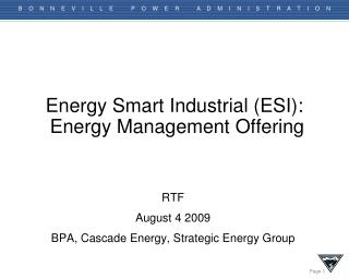 Energy Smart Industrial (ESI):  Energy Management Offering