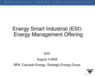 Energy Smart Industrial (ESI):  Energy Management Offering