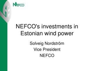 NEFCO's investments in Estonian wind power