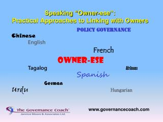 Speaking �Owner- ese �:   Practical Approaches to Linking with Owners