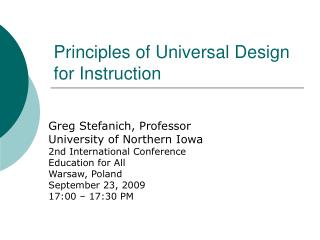 Principles of Universal Design for Instruction