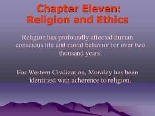 Chapter Eleven: Religion and Ethics