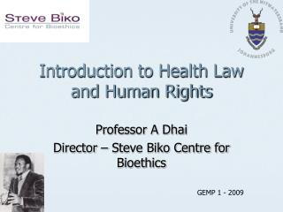 Introduction to Health Law and Human Rights