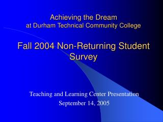 Achieving the Dream at Durham Technical Community College