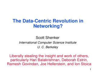 The Data-Centric Revolution in Networking?