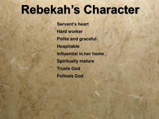 Rebekah's Character