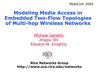 Modeling Media Access in Embedded Two-Flow Topologies of Multi-hop Wireless Networks