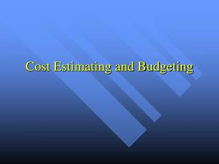 Cost Estimating and Budgeting