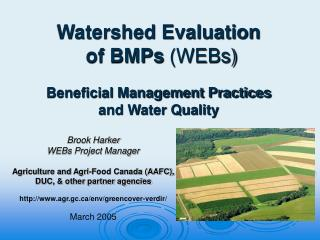 Watershed Evaluation  of BMPs  (WEBs) Beneficial Management Practices and Water Quality