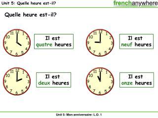 Unit 5: Quelle heure est-il?