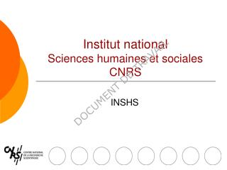 Institut national Sciences humaines et sociales CNRS