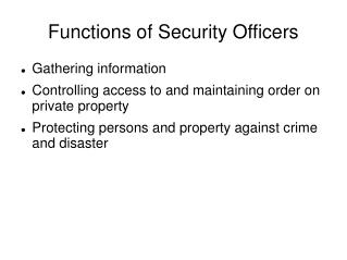 Functions of Security Officers