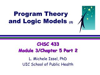 Program Theory and Logic Models  (2)