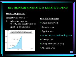 RECTILINEAR KINEMATICS:  ERRATIC MOTION