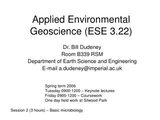 Applied Environmental Geoscience (ESE 3.22)