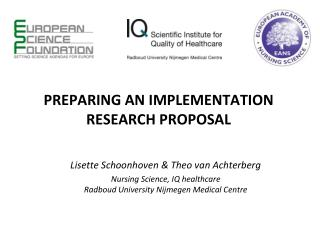 PREPARING AN IMPLEMENTATION RESEARCH PROPOSAL