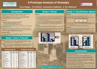 A Prototype Analysis of Nostalgia Erica Hepper 1 , Tim Ritchie 2 , Constantine Sedikides 1 , & Tim Wildschut 1