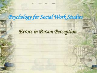 Psychology for Social Work Studies